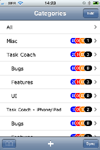 Category list (release 3.0 on iPhone)